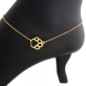 Sideways Cute Textured Dog Pet PAW Puppy Animal Print Charm Pendant Anklet #14K Gold Plated over 925 Sterling Silver #Azaggi A0626G