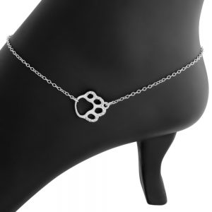 Sideways Cute Textured Dog Pet PAW Puppy Animal Print Charm Pendant Anklet #925 Sterling Silver #Azaggi A0626S