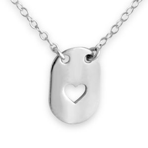 Sideways Open Heart Dog Tag Love Symbol Romantic Sweetheart Valentine's Charm Pendant Necklace #925 Sterling Silver #Azaggi N0157S - 12'' child