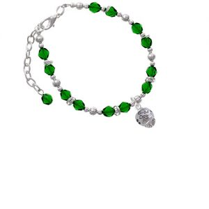 Silvertone Good Dog with Black Paw Spinners Green Beaded Bracelet