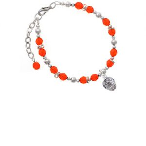 Silvertone Good Dog with Black Paw Spinners Orange Beaded Bracelet
