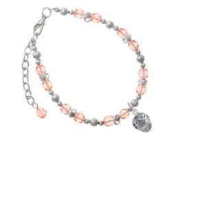 Silvertone Good Dog with Black Paw Spinners Pink Beaded Bracelet