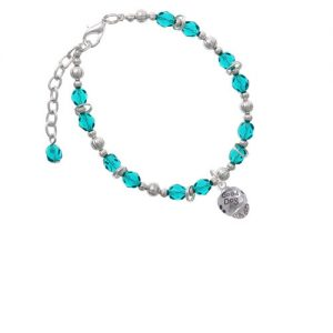 Silvertone Good Dog with Black Paw Spinners Teal Beaded Bracelet