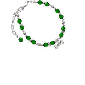 Silvertone Mini ''Rescue'' Dog Bone Green Beaded Bracelet