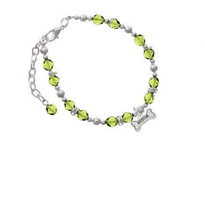 Silvertone Mini ''Rescue'' Dog Bone Lime Green Beaded Bracelet