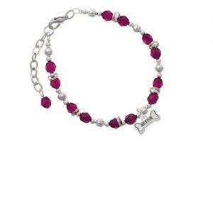 Silvertone Mini ''Rescue'' Dog Bone Magenta Beaded Bracelet