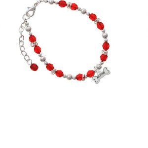 Silvertone Mini ''Rescue'' Dog Bone Red Beaded Bracelet