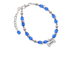 Silvertone Mini ''Rescue'' Dog Bone Royal Blue Beaded Bracelet