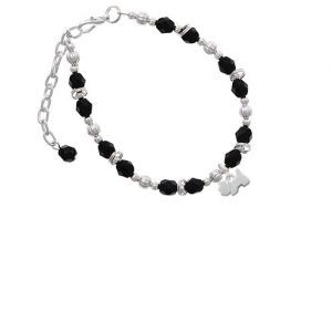 Silvertone Mini Scottie Dog Black Beaded Bracelet