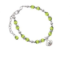 Silvertone Small Outline Dog Face Lime Green Beaded Bracelet