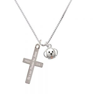 Small Outline Dog Face - She is More Precious - Cross Necklace
