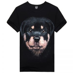 Sports creative personality men's short sleeve T-shirt Mens 3D dog Rottweiler T-shirt (M, L, )