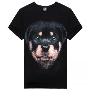 Sports creative personality men's short sleeve T-shirt Mens 3D dog Rottweiler T-shirt (M, L, ) - black, m