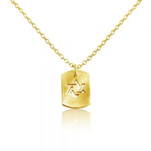 Star of David Jewish Religious Symbol Hexagram Shape Dog Tag Charm Pendant Necklace #14K Gold Plated over 925 Sterling Silver #Azaggi N0704G - 12'' child