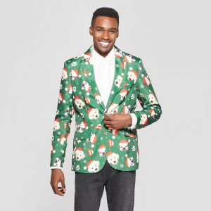 Suitmeister Men's Ugly Christmas Santa Puppies Costume Jacket - Green L