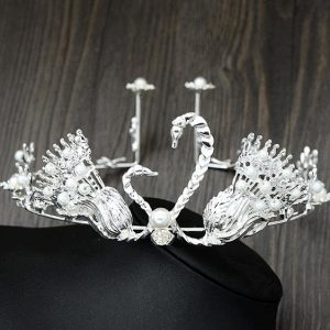 Swan pearl hair manually the bride adorn article tire gold silver crown wedding birthday cake - silver