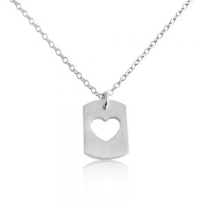 Sweet Heart Romantic Dog Tag Charm Pendant Necklace #925 Sterling Silver #Azaggi N0705S - 12'' child