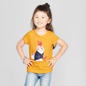 Toddler Girls' Football Dogs Short Sleeve T-Shirt - Cat & Jack Yellow 12M