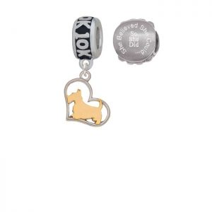 Two-tone Scottie Dog Silhouette Heart 10K Run She Believed She Could Charm Beads (Set of 2)