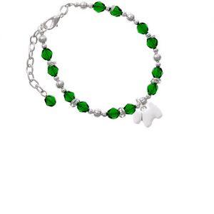 White Westie Dog Green Beaded Bracelet