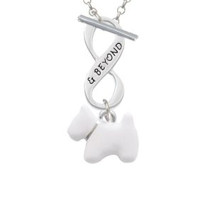 White Westie Dog Infinity and Beyond Toggle Necklace