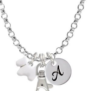 White Westie Dog Initial Badge Clip Necklace