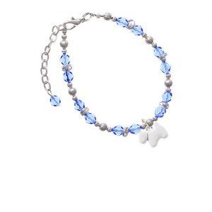 White Westie Dog Light Blue Beaded Bracelet