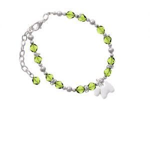 White Westie Dog Lime Green Beaded Bracelet