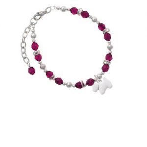 White Westie Dog Magenta Beaded Bracelet