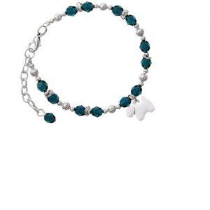 White Westie Dog Navy Blue Beaded Bracelet