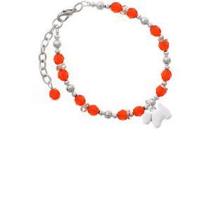 White Westie Dog Orange Beaded Bracelet