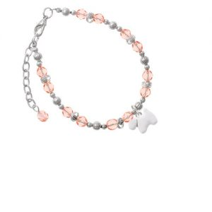 White Westie Dog Pink Beaded Bracelet