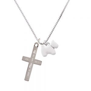 White Westie Dog - Plans I Have for You - Cross Necklace