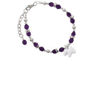 White Westie Dog Purple Beaded Bracelet
