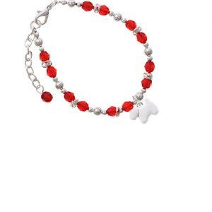 White Westie Dog Red Beaded Bracelet