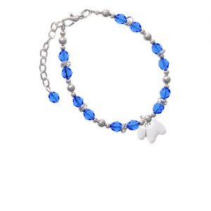White Westie Dog Royal Blue Beaded Bracelet