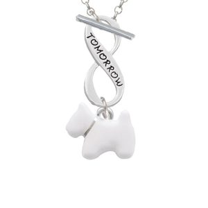 White Westie Dog Today Tomorrow Infinity Toggle Necklace