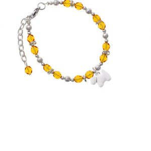 White Westie Dog Yellow Beaded Bracelet
