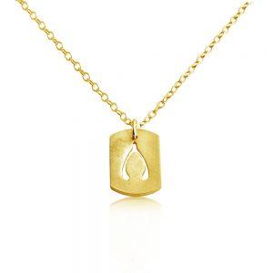 Wishbone Wish Bone Dog Tag Charm Pendant Necklace #14K Gold Plated over 925 Sterling Silver #Azaggi N0693G - 12'' child