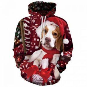 Women's Casual Hoodie 3D Print Santa Dog Christmas Hoodie