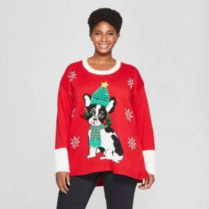 Women's Plus Size Dog Christmas Ugly Sweater - 33 Degrees (Juniors') Red 2X