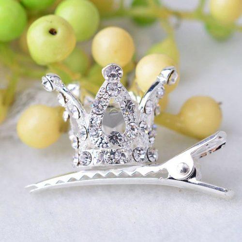 girls hair accessories princess crown crystal hairpin mini rhinestone duckbill clips - silver