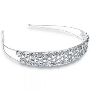Bling Jewelry Rhinestone Laced Design Silver Bridal Tiara Headband