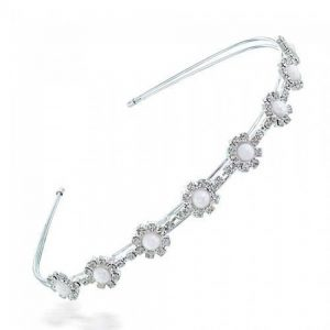 Bling Jewelry White Gold Plated Pearl Flower Crystal Tiara Headband