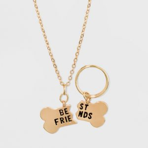 Charm Dog Bone and Keyring Set Pendant Necklace 2ct - Wild Fable Gold, Women's
