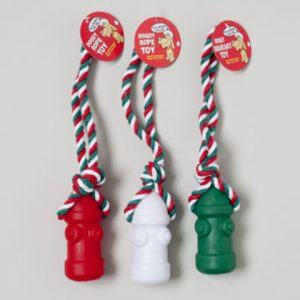 Christmas Vinyl Dog Toy Hydrant With Rope Case Pack 78