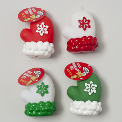 Christmas Vinyl Dog Toy Mitten - Assorted Colors Case Pack 72