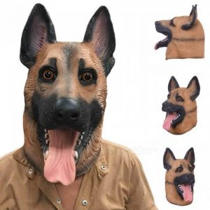 Dog Head Latex Mask Full Face Adult Mask Breathable Halloween Masquerade Fancy Dress Party Cosplay Costume Lovely Animal Mask Dog Head Mask