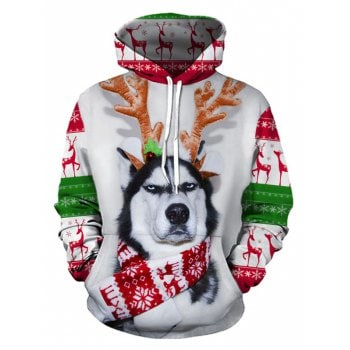 Individual Elk Dog 3D Digital Print Long Sleeve Sweater