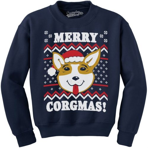 Merry Corgmas Ugly Christmas Sweater Unisex Dog Lover Crew Neck Sweatshirt